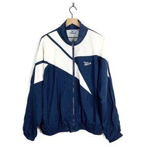 Reebok Vintage Navy White Windbreaker Jacket XL
